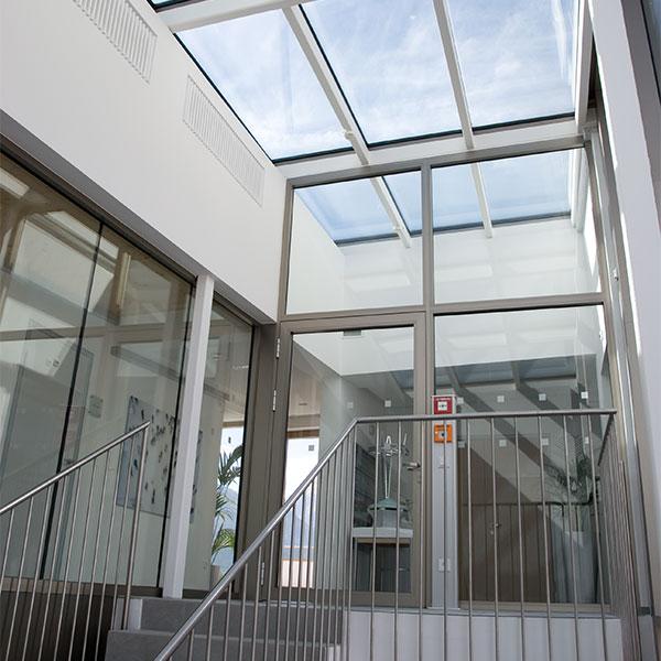 Brandschutztuer Brandschutzverglasung Portal Glasdach