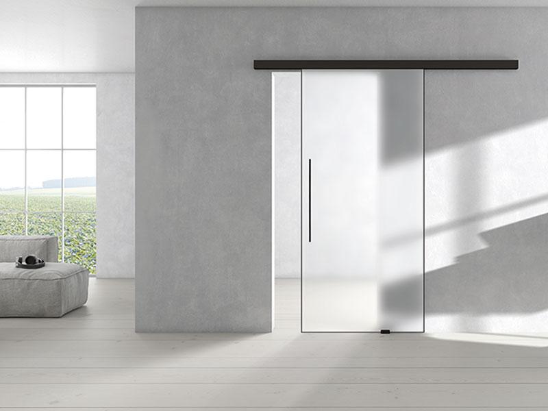 PLANEO AIR Klarglas Tuergriff Griffwerk Tuerdruecker Fritsche Schwarzes Design Glastuergriff