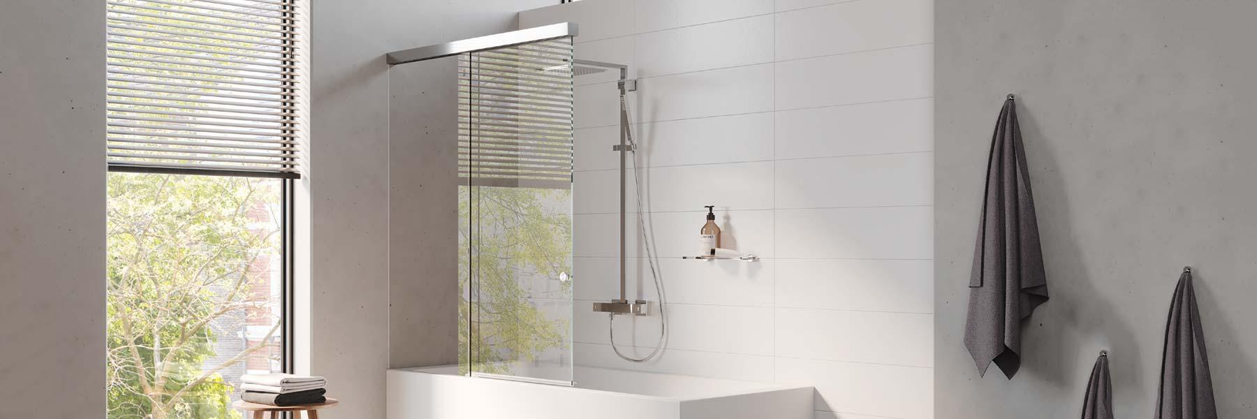 Slider Vitris Aquant Duschbiebetür Ausziehbarer Spritzschutz Für Badewannen Kaufen