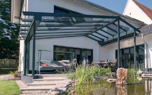 Hawaii 40 Terrassendach Glasdach Terrassenverglasung Terrassenüberdachung Modern Hausvordach Eingangsüberdachung Klein
