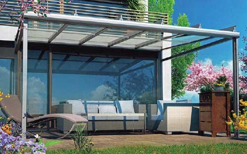Hawaii 40 PURE Terrassendach Glasdach Terrassenverglasung Terrassenüberdachung Modern Hausanbau Klein