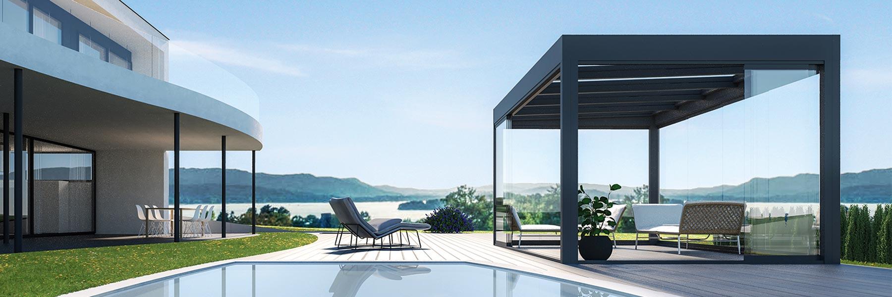 Slider Hawaii 40 CUBO Terrassendach Glasdach Terrassenverglasung Terrassenüberdachung Modern Pergola Glascubus Freistehend überdachung