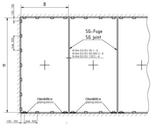 Skizze Fir-Fire Eu Rahmenloses Brandschutzglas Endlos Glas