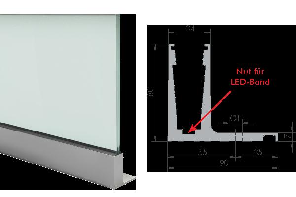 Balardo Smart Railing Geländer Glassline Bodenprofil Mit Lasche