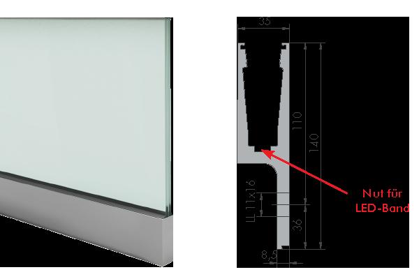 Balardo Smart Railing Geländer Glassline Vorgesetztes Wangenprofil