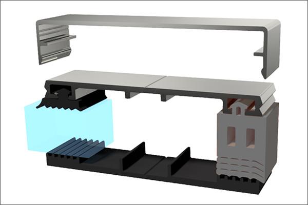 Seitenabschlussgummi Dachverglasungsprofil Glasueberdachung