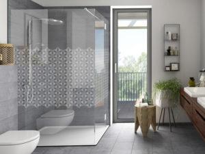 Dusche Mit Blattmuster Lasergravur Frilaser Glasgestaltung Glaslaser Kaufen Modernes Bad