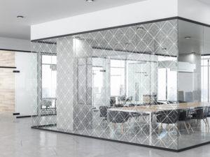 Frilaser Premium Lasergrafur Moderne Glasgestaltung Glaslaser Besprechungsraum