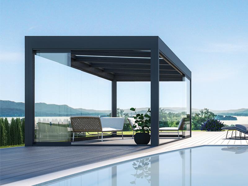 CUBO Terrassendach Glasdach Terrassenverglasung Terrassenüberdachung Modern Pergola Glascubus Freistehend