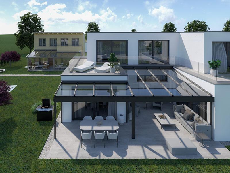 Prime Terrassendach Glasdach Terrassenverglasung Terrassenüberdachung Modern Hausvordach Pergola Freistehend